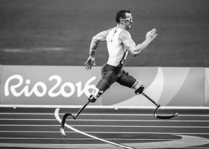 Athlete with prosthetic limbs