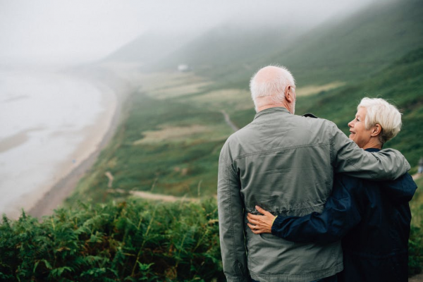 Older couple overlooking beach